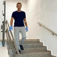 O crítico do Kremlin, Navalny, posta uma foto sua caminhando